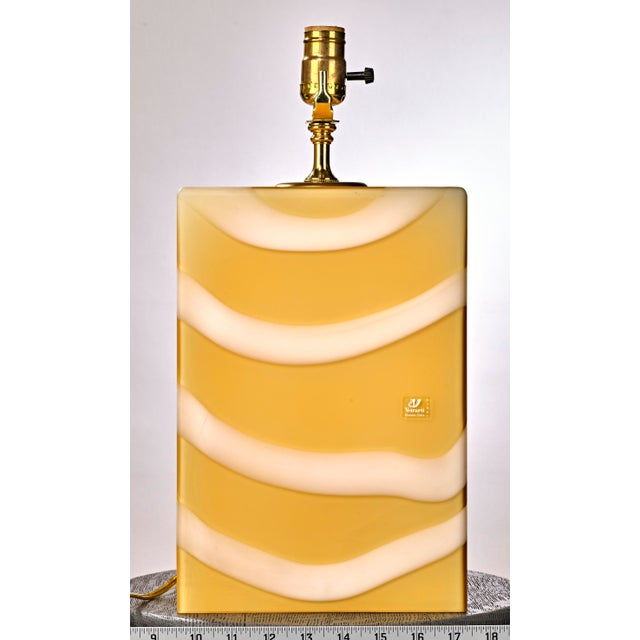 Mid-Century Modern Mid-Century Modern Murano Glass Yellow and White Cube Table Lamp For Sale - Image 3 of 6