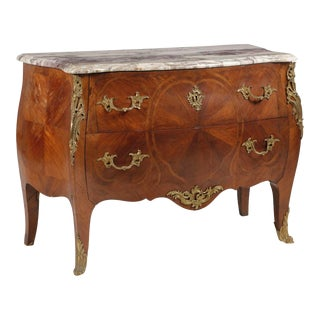 A Louis XV Style Gilt Inlaid Walnut Commode For Sale