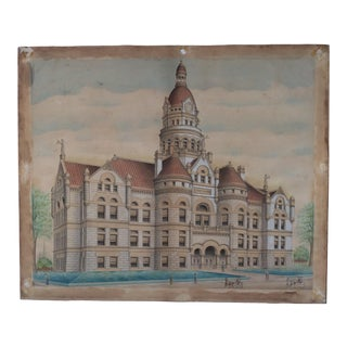 19th Century Architectural Painting of a Richardsonian Romanesque Court House 1880s For Sale