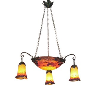 French Wrought Iron Chandelier With Colorful Art Glass Shades (3) and Bowl For Sale