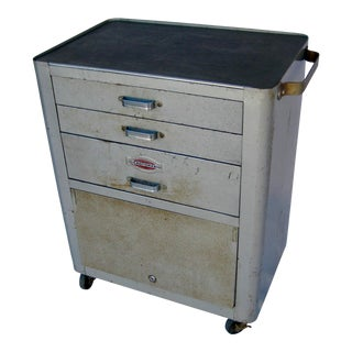 1950s Craftsman Iron Rolling Tool Chest on Wheels For Sale
