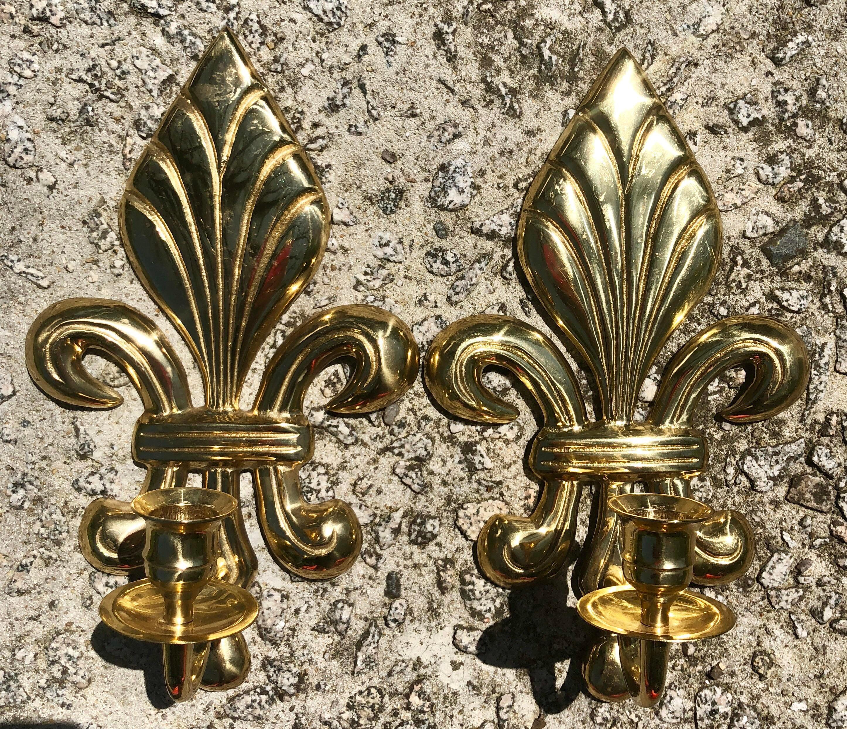Brass Fleur De Lis Candle Sconces A Pair Chairish