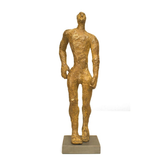 "American Carol Bruns Gold Patinated Bronze ""Exiting Man"" Sculpture C. 2000 For Sale In New York - Image 6 of 6"