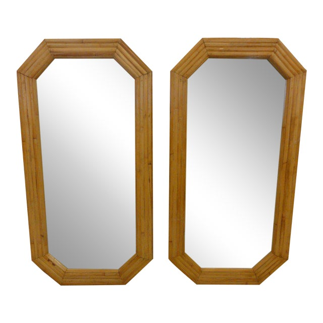 Florida Style Rattan Mirrors - A Pair - Image 1 of 6