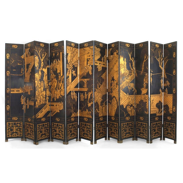 Black 20th Century Chinoiserie Gilt and Black Lacquered 12 Panel Screen For Sale - Image 8 of 8