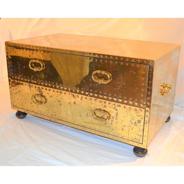 1970s (Final Markdown) 1970s Hollywood Regency Sarreid Brass Clad Two Drawer Chest For Sale - Image 5 of 12