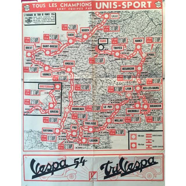 1954 Vintage French Tour De France Map - Image 1 of 6