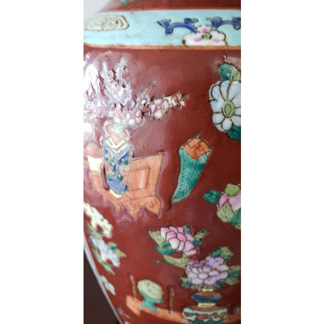 Wood Vintage Mid Century Chinese Hand Carved Lamp For Sale - Image 7 of 11