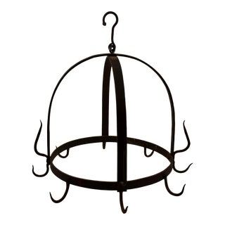 Rustic Crown Form 19th C. Wrought Iron Butchers / Pot Rack For Sale