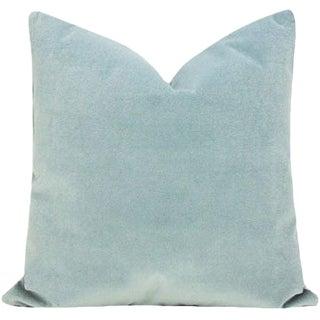 Transitional Sky Blue Velvet Pillow Cover For Sale