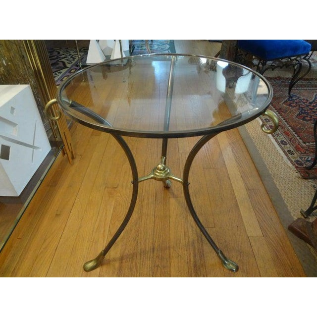 Metal French Maison Baguès Style Brass Table or Guéridon With Glass Top For Sale - Image 7 of 11