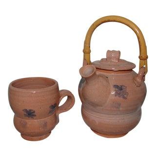 Studio Pottery Handmade Teapot & Mug For Sale