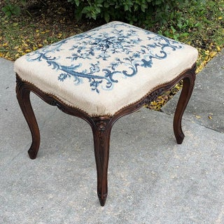 Early 20th Century Antique French Louis XV Needlepoint Stool Preview