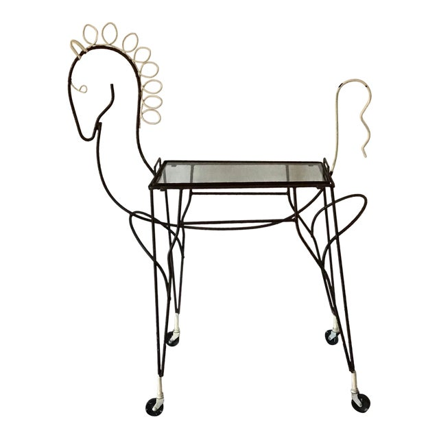 1950's Horse Pony Rolling Serving Bar Cart By Frederick Weinberg For Sale