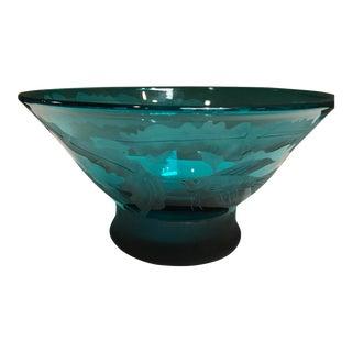 Michele Dern Aquatic Theme Glass Bowl