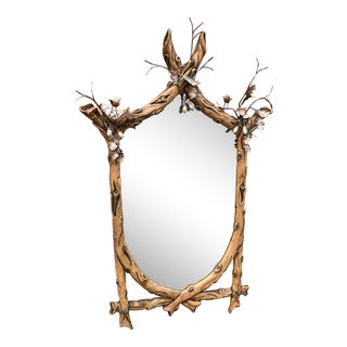 Vintage Faux Branch Mirror With Twigs & Birds