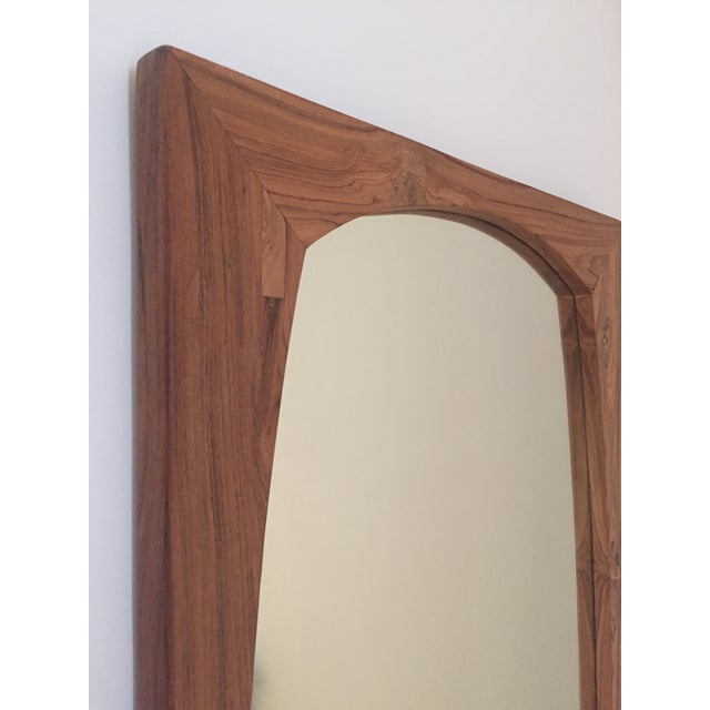 CB2 CB2 Mid-Century Style Teak Wall Mirror For Sale - Image 4 of 5