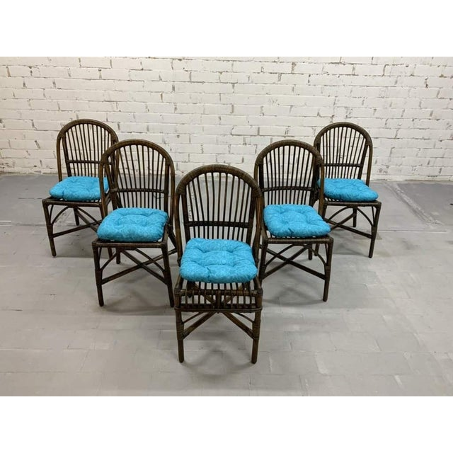 Set of 5 Italian Vintage Bamboo Patio Dining Chairs For Sale - Image 11 of 11