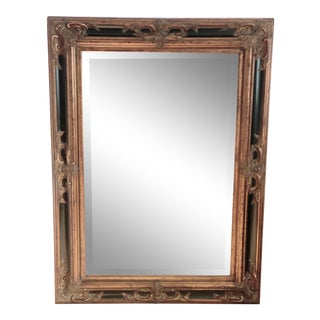 Extra Large Black and Golden Rectangular Wall Mirror For Sale