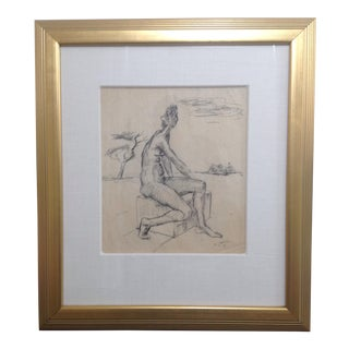 Ernst Stolz Charcoal Drawing For Sale