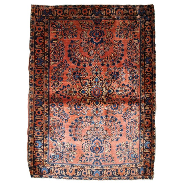 1920s, Handmade Antique Persian Sarouk Rug 3.3' X 5.5' For Sale - Image 9 of 9