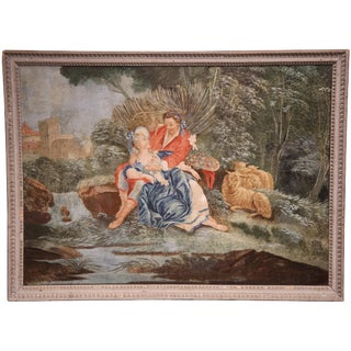 18th Century French Louis XVI Romantic Painting on Canvas with Grey Frame circa 1760 For Sale