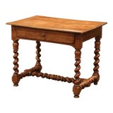 Image of 19th Century, French, Louis XIII Carved Walnut Barley Twist Table Desk For Sale