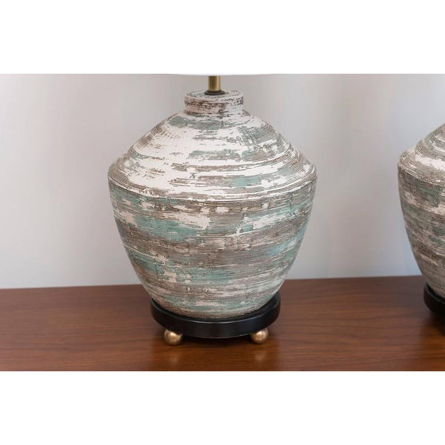 Mid-Century Modern 1950s Ceramic Lamps - A Pair For Sale - Image 3 of 8