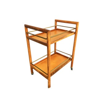 Two-Tier Midcentury Oak Bar Cart With Brass Railings For Sale