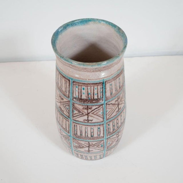 1960s Signed Guido Gambone Mid-Century Modern Hand Painted Ceramic Vase For Sale - Image 5 of 9