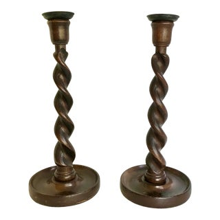 19th Century English Barley-Twist Oak Candle Holders, a Pair For Sale