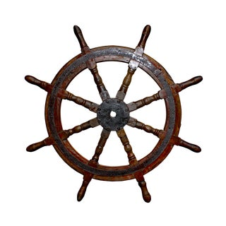 Vintage Ship Steering Wheel With Eight Spokes Wall Display Table Top For Sale