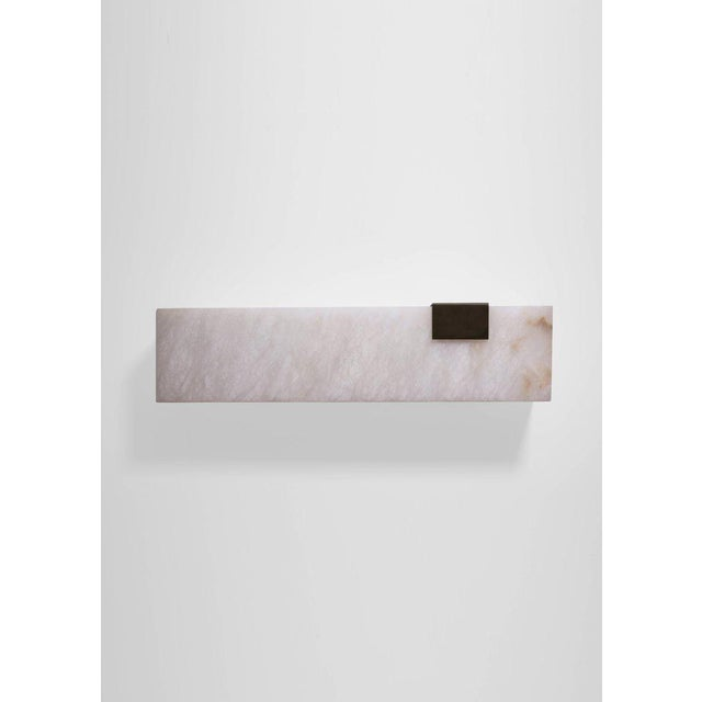Contemporary Modern Contemporary 003-1c Sconce in Blackened Brass and Alabaster by Orphan Work For Sale - Image 3 of 5