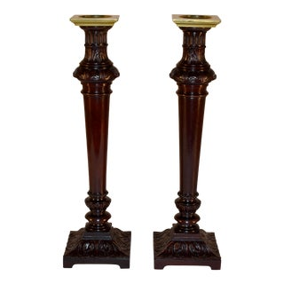 Pair of Early 19th C Mahogany Candlesticks For Sale