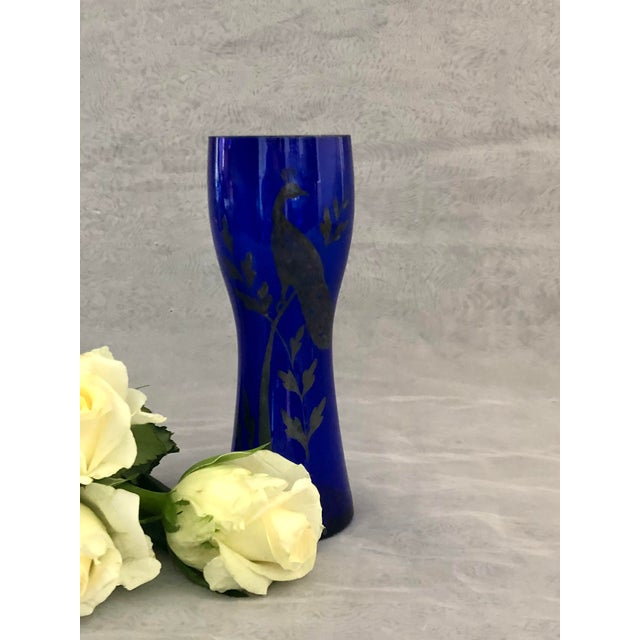 1930s Art Deco Czechoslovakia Cobalt Blue Glass Vase With Silver Peacock Overlay For Sale - Image 11 of 12