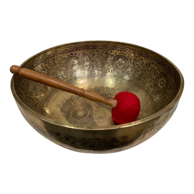 Mid 20th Century Hand Made Singing Bowl with Mallet - 2 Pieces For Sale