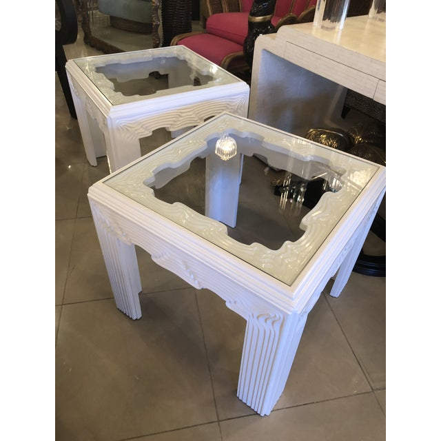 Vintage Modern White Lacquered Wavy End Side Tables -A Pair For Sale - Image 10 of 13