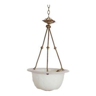Antique Victorian Milk Glass Bowl Fixture For Sale