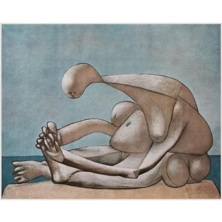 """1954 Pablo Picasso """"Woman on the Beach"""", Period First Limited Italian Edition Lithograph For Sale"""