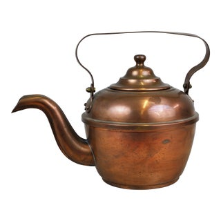 Antique English Copper Teapot Tea Kettle For Sale