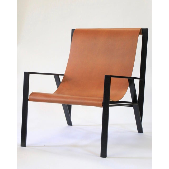 Black Hampton Light Black Frame, Distressed Brown Leather Lounge Chair For Sale - Image 8 of 8