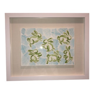 Green Bunnies on Blue Hatch Original Watercolor Painting For Sale