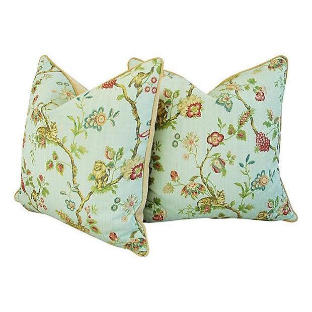 Italian Scalamandre Fleur Des Indes Pillows - Pair - Image 9 of 11