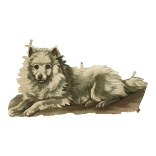 Antique French White Dog Embossed Chromolithograph Print For Sale