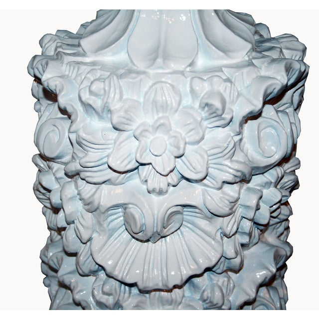 Glossy White Carved Floral Lamps - A Pair - Image 6 of 8