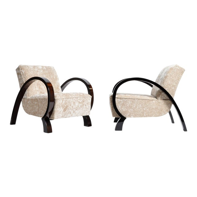 Hungarian Solid Walnut Armchairs - a Pair For Sale