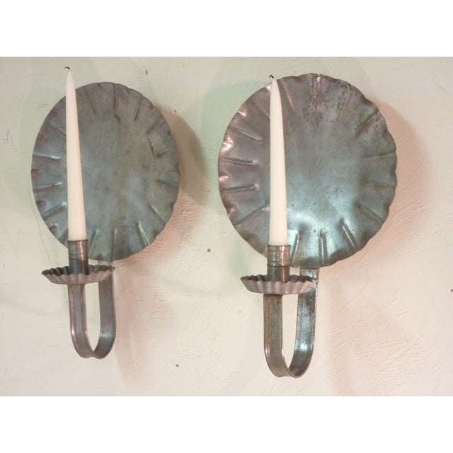 Vintage New England Tin Sconces - Pair - Image 3 of 4