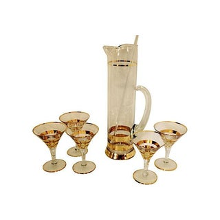 Martini Pitcher, Stirrer and Glasses - Set of 7