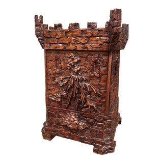 19th Century Swiss Black Forest Carved Walnut Cigar Box For Sale