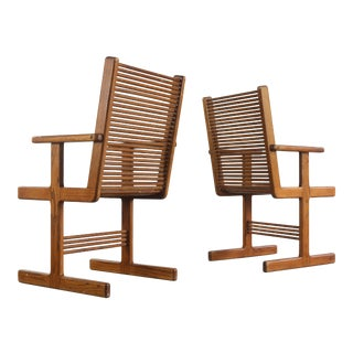 Set of Two Vintage Modern Spindle Arm Chairs by Stephen Hynson For Sale